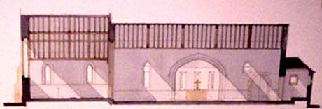 Cross-section through the church, looking South